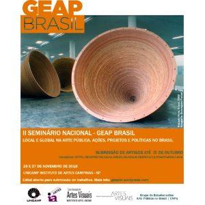 Chamada para artigo: II Seminário Nacional do GEAP BR. O tema geral deste ano é: Local e Global na Arte Pública. Ações, Projetos e Políticas no Brasil.